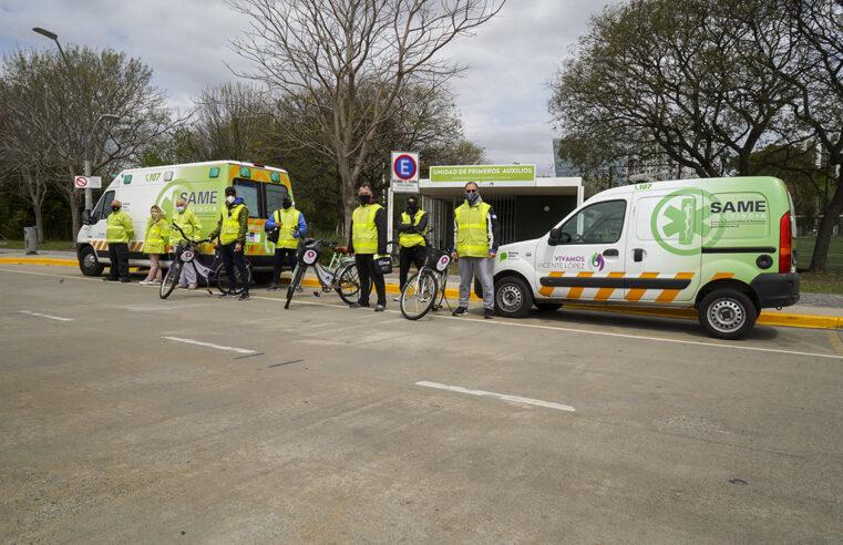 Paseo de la Costa: Vicente López desarrolla una Unidad Ciclista de Rescate Cardíaco
